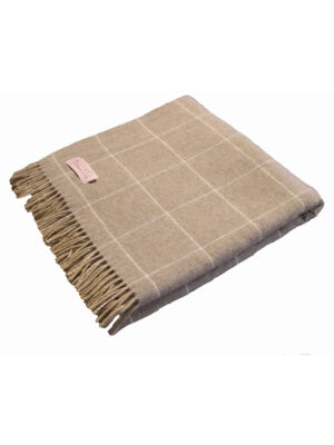 alpaca merino throw blanket in beige and cream