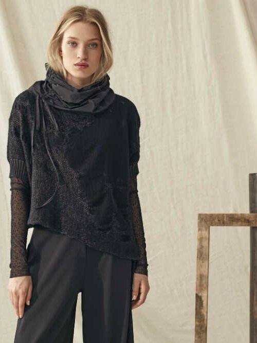 Crea Concept Black Knit Top