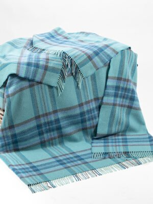 Blue mix merino cashmere throw