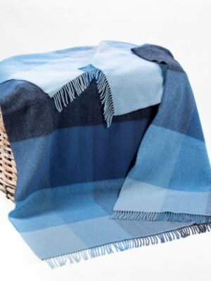Navy and blue mix cashmere merino throw