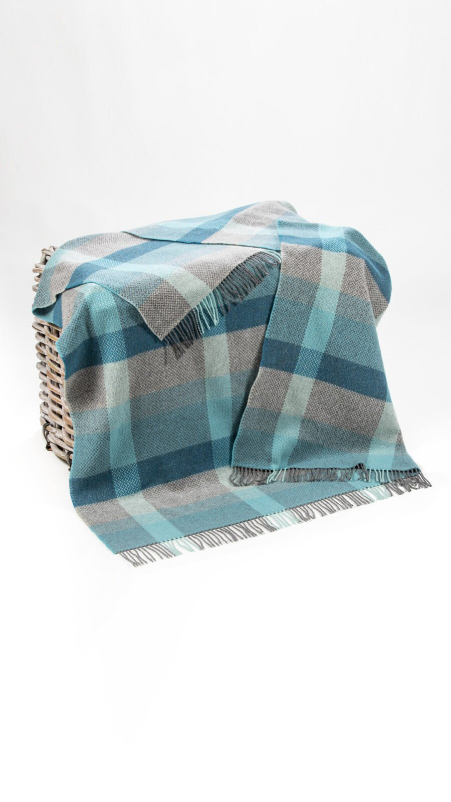 Blue and grey mix throw