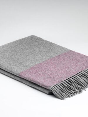 Cashmere Merino Throw Silver and raspberry