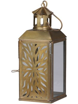Brass Lantern with Floral Pattern