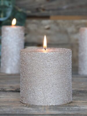Rustic Pillar Candle With Glitter