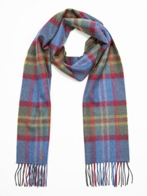 Merino Wool green, blue and red Tartan scarf