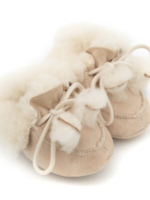 Sheepskin nude baby booties