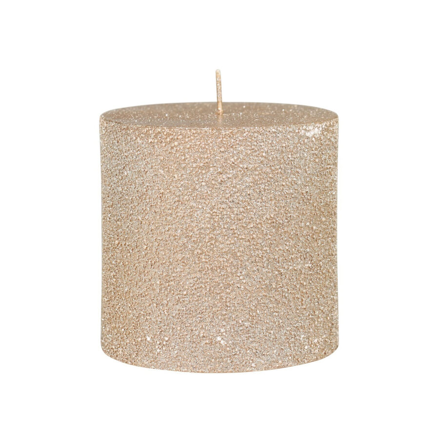 rustic pillar candle with glitter rose gold colour
