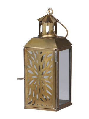brass lantern with floral cutout detail pattern