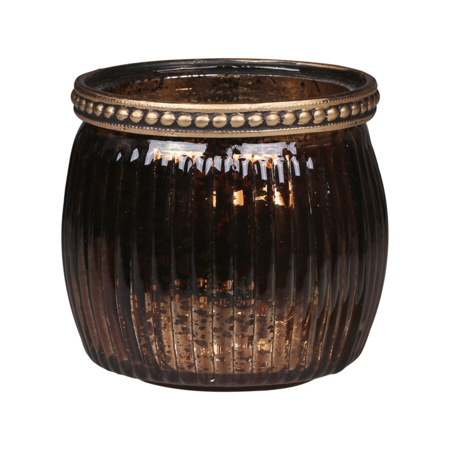 tea light holder with pearl edge in antique mocha colour