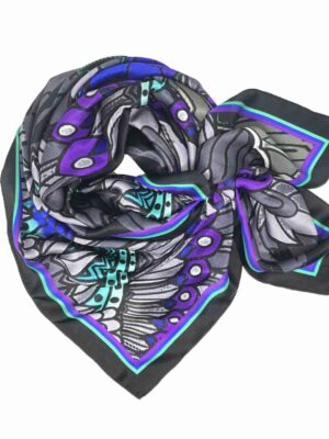 blue grey eagle print silk scarf