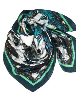 green wolf printed silk square scarf