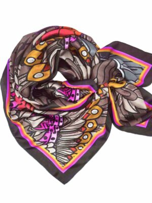 orange eagle printed silk scarf classic square