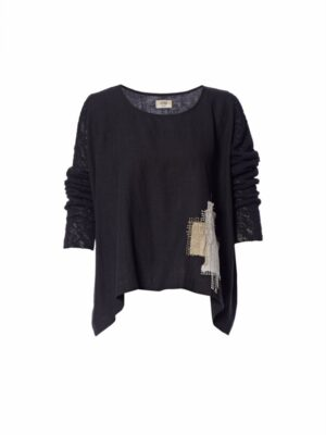 crea concept black linen top with knit sleeves