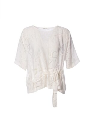 Crea Concept Cream Sheer Top with Drawstring Belt and Subtle Pattern