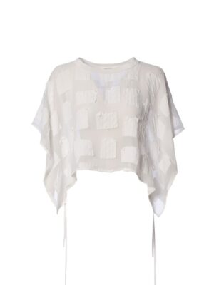 crea concept white sheer top cropped loose fit